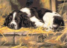 Spaniel & Mouse ~ Dogs ~ Counted Cross Stitch Pattern #StoneyKnobFarmHeirlooms #CountedCrossStitch