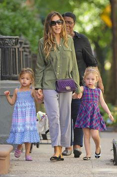 #NYC #celebrity action...  #SarahJessicaParker takes her twin daughters Marion and Loretta for shopping at Citarella, accompanied by their nanny in the West Village, ...