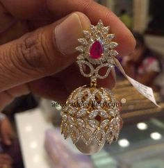 Jewellery Designs: Spectacular Jhumka in Diamonds