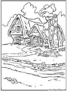 coloriage Les maisons des Sept Nains