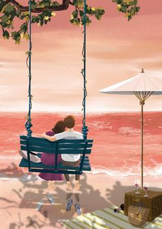That's what couples life I mean spending time together.i will wait you all my life 💜💙 Couple Illustration, Illustration Art, Cute Couple Art, Couple Drawings, Photo Wall Collage, Love Wallpaper, Anime Love, Asian Art, Love Art