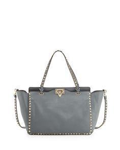 Rockstud Medium Tote Bag, Gray by Valentino at Bergdorf Goodman.