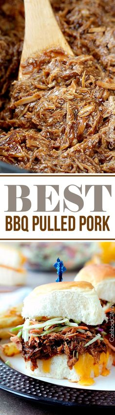 "EASY slow cooker tender, tangy sweet, smokey, BBQ Pulled Pork - ""Best"" BBQ pulled pork"