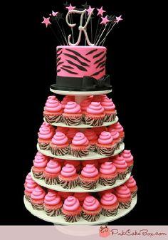 Sweet Sixteen Cupcake Tower | de cupcakes cake list bolo com torre de cupcakes emkatt