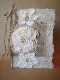rustic fabric lace | Rustic Burlap Lace Fabric Collage Handmade Shabby Chic Flower Journal ...