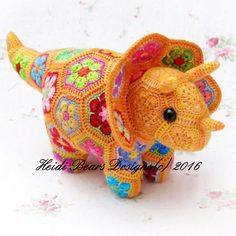 Plod the African Flower Triceratops by heidibears on Etsy
