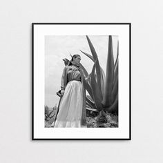 Frida Kahlo Print - Fine Art Giclee Reproduction - Frida Kahlo Photo - Agave Plant - Black and White Wall Art - Mexican Artist - Vogue Photo