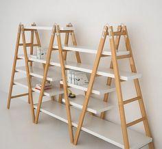 Ladder shelf becomes of Furniture House Desig Craft Fair Displays, Market Displays, Home Furniture, Furniture Design, Room Deco, Diy Casa, Display Shelves, Ladder Shelves, Ladder Display