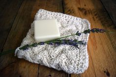 lattic washcloth with soap and lavender