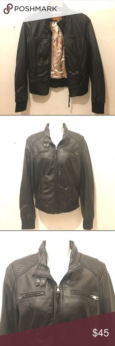 Moto Jacket Black faux leather moto jacket in perfect condition. 4 pockets and extra zipper details. Only worn twice. Labeled as a Medium but will fit a Small best! #K085 Miss Posh Jackets & Coats