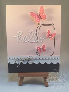 Chelsea's Creative Corner: Hello Butterfly .... look at all the fun dies used on this card ...