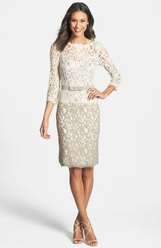 Tadashi Shoji Two-Tone Lace Sheath Dress available at #Nordstrom