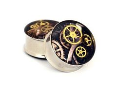 Steampunk Picture Plugs Style 7 - 00g - 10mm - Sold As a Pair $19.99