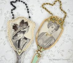 Repurpose & upcycle fancy vintage hand mirrors or hair brushes and costume jewelry to make these attractive accents. Click on photo for tutorial