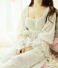 Free Shipping 100% Cotton Princess Style women nightgown Court dress pyjamas #008