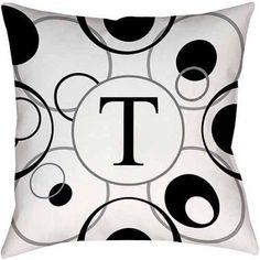 Thumbprintz Circle Variations Monogram Black and White Decorative Pillows