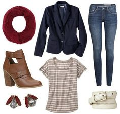Striped tee jeans navy blazer outfit