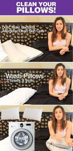 "How to Clean Pillows. Good to know! Another pinner said: ""I do this every other month,  but I also wash my pillows on the hottest setting with a cup of bleach.  Always does the trick. This way,  you don't have to do the ""smell"" check!  I also like my pillows to smell fresh,  so I add fabric softener to the washer and dry with a sheet.  Also helps get rid of static in your hair on those dry winter months!"""