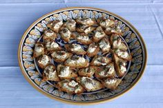 Bruschetta at Regaleali, Sicily. Toast topped with fresh sheep's milk ricotta from the farm down the road and grilled sardines from our friend, Chef Franco. http://www.peggymarkel.com/sicily
