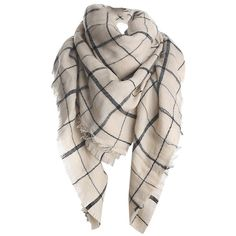 Womens Fashion Warm Plaid Shawl Scarf Beige White ($13) ❤ liked on Polyvore featuring accessories, scarves, beige white, plaid scarves, white shawl, shawl scarves, plaid shawl and tartan scarves