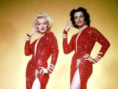 Gentlemen Prefer...Red?  Marilyn Monroe and Jane Russell in 'Gentlemen Prefer Blondes'.