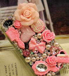 Pearl Pink Flower DIY deco phone case kit deco by MegaSuperStore