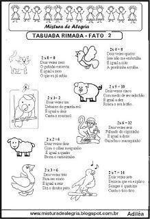 Tabuada rimada e ilustrada fato 2