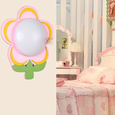 Colforful Flower Wall Lamp Lovely Children's Bedroom Beside Night Light