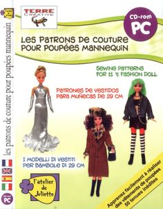 Herbie's Doll Sewing, Knitting & Crochet Pattern Collection: l atelier de juliette DVD - 54 Outfits for inch dolls Barbie Sewing Patterns, Sewing Dolls, Doll Clothes Patterns, Sewing Patterns Free, Sewing Clothes, Doll Patterns, Clothing Patterns, Pattern Sewing, Crochet Patterns