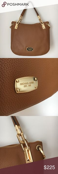 💼NWT MICHAEL KORS Handbag - NWT MICHAEL KORS Handbag  - GENUINE camel colored leather with gold accents. Monogrammed gold plate, zipper, and clasps on shoulder strap. Comes with shoulder strap and original packaging   - NEW WITH TAGS Michael Kors Bags Shoulder Bags