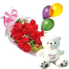 """Dozen Carnations Arrangement with 3 colourfull airfilled Balloons,6"""" Small Teddy bear"""