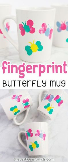 Thumprint Butterfly Mug Kids Craft for Spring or Mother's Day. Mug Painting Ideas, Mug Painting DIY, Mug Painting Ideas Ceramic,