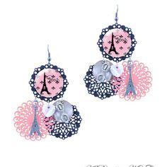 Boucles d'oreilles paris rose et noir fait main milacréa