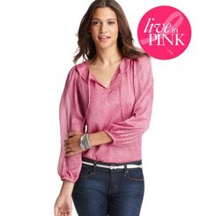 Live In Pink Heart Blouse, $59.50  #LOFTPink     25% of the full-price purchase of this item will go directly to The Breast Cancer Research Foundation