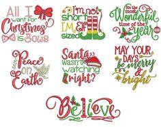 Christmas Word Art Set 2 Machine Embroidery Designs by JuJu