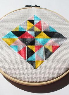 Geometric Diamond Pattern Modern cross by DianaWattersHandmade