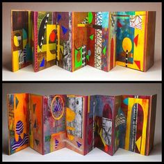 """Unifying yellow"" Collages Artists Book, accordion fold, each page approx 6""x4"", acrylic paint and ink and many different papers on paper.  #artistsbooks #collage #collageart #abstractart #colours #accordionbook #michelebrownart"