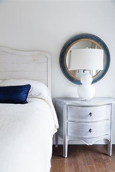 Bedroom nightstand in gray wash customized finish - Carla Aston Designer, Tori Aston Photographer Tile Bedroom, Master Bedroom Redo, Bedroom Sets, Bedroom Decor, Dream Bedroom, Mirrored Bedroom Furniture, Bedroom Dressers, Painting Furniture, Sophisticated Bedroom