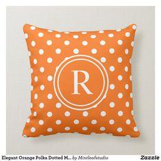 Shop Elegant Orange Polka Dotted Monogram Throw Pillow created by Mintleafstudio. Orange Pillows, White Pillows, Throw Pillows, Silk Pillow, Decorative Cushions, Custom Pillows, Polka Dots, Monogram, Elegant