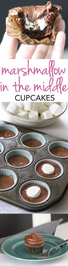 Marshmallow in the middle chocolate cupcakes @katiehappympm - great pin /caralesley/ ! Yummy Recipes, Sweet Recipes, Baking Recipes, Kale Recipes, Rib Recipes, Sausage Recipes, Baking Ideas, Pizza Recipes, Diy Cupcake