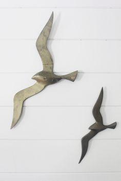 Mid Century Brass Seagulls