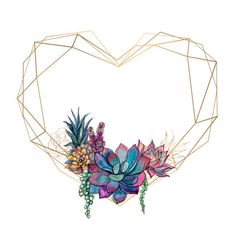 Gold heart frame with succulents. : Gold heart frame with succulents. Graphics Vector Gold heart frame with succulents. Flower Backgrounds, Wallpaper Backgrounds, Iphone Wallpaper, Cellphone Wallpaper, Pastel Wallpaper, Print Wallpaper, Valentines Watercolor, Tableau Design, Illustration Blume