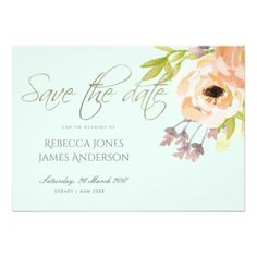 ROMANTIC PINK PURPLE BLUE FLORAL SAVE THE DATE CARD - anniversary gifts ideas diy celebration cyo unique