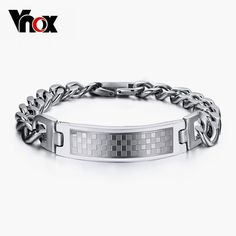 FOXI YOUTH Stainless Steel Curb Chain Bracelet CZ Inlay Cross ID Tag Bangle 8.3 Black