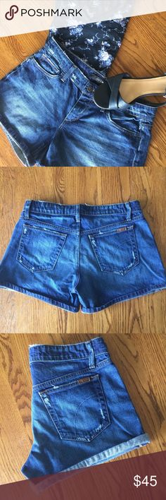 "Joe's Jeans Rolled Denim short Slightly destressed dark edlyn wash Joe's Jean shorts. Can be rolled or not. Zip button fly. 5 pocket. Approximate 8"" rose, 4"" inseam (unrolled) Joe's Jeans Shorts Jean Shorts"