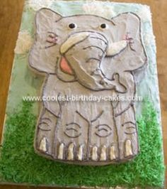 Homemade Elephant Birthday Cake: My husband and I made this elephant birthday cake for our daughter's Zoo Theme 2nd birthday. The base was a piece of plywood that was covered with aluminum