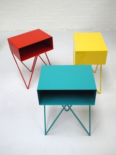Image of Robot side table in turquoise by &New.