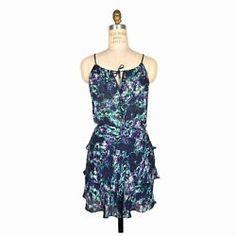 PARKER Silk Ruffle Dress Drawstring Tie in Purple & Teal Floral Print - XS