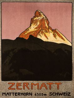 TRAVEL TOURISM MATTERHORN MOUNTAIN ZERMATT SWITZERLAND ALPINE SNOW POSTER 2428PY | eBay