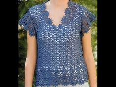 Blusa Azul Calada terminación Abanicos a Crochet, My Crafts and DIY Projects